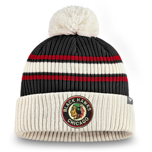 Chicago Blackhawks Fanatics Branded True Classic Pom Cuffed Knit Hat - Black/Red