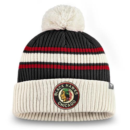 Chicago Blackhawks Fanatics Branded True Classic Pom Cuffed Knit Hat - Black/Red