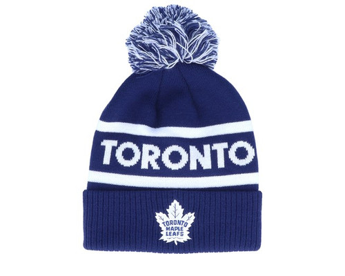 Toronto Maple Leafs ADIDAS Branded Cuffed Knit pom Beanie toque NHL hockey Hat