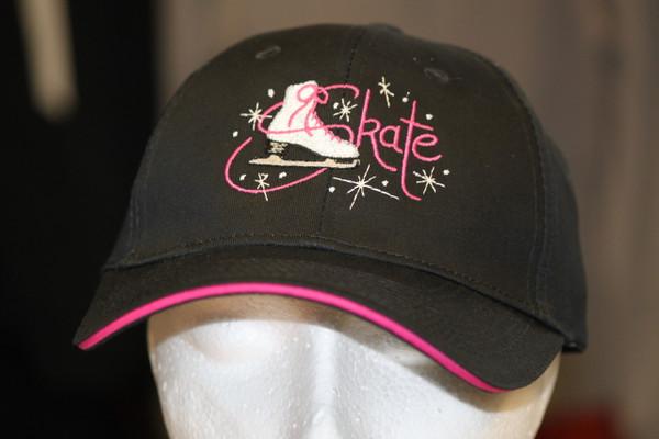 Skate Hat - Pink trim Figure skating logo design