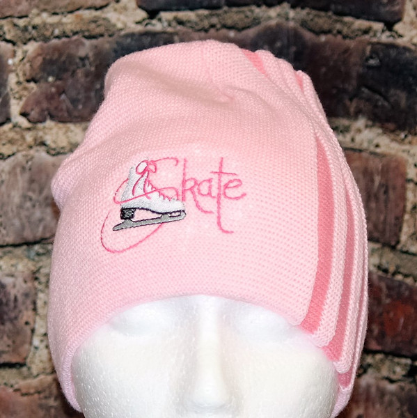 Figure Skating Skate Toque with pleated stripes
