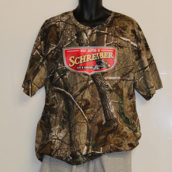 Realtree Camo T-shirt - What happens in Schreiber Stays In Schreiber