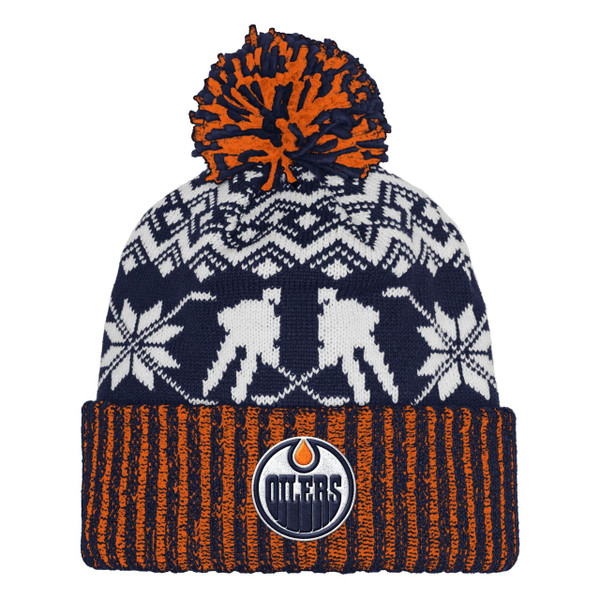 Edmonton Oilers adidas NHL Snowflake Player Cuffed Pom Toque knit hat
