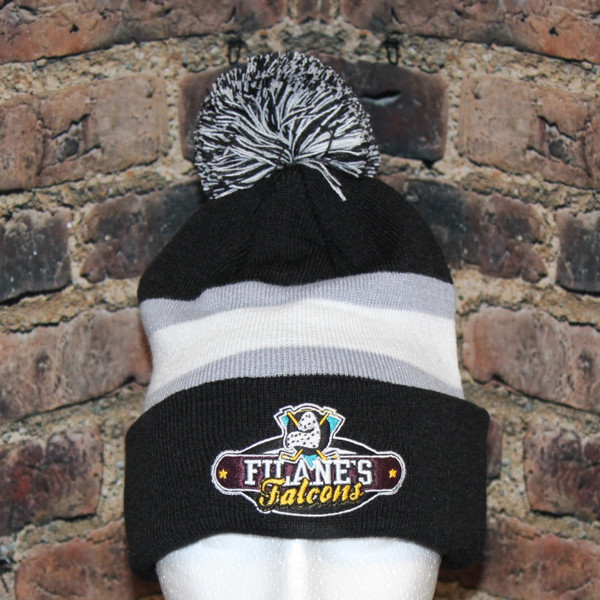 This Filane's Falcons Hockey Knit pom pom toque is great for wearing to the big game to show you support for the team.