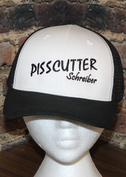 Pisscutter Hat  Schreiber- by Hollywood Filane White Black Mesh