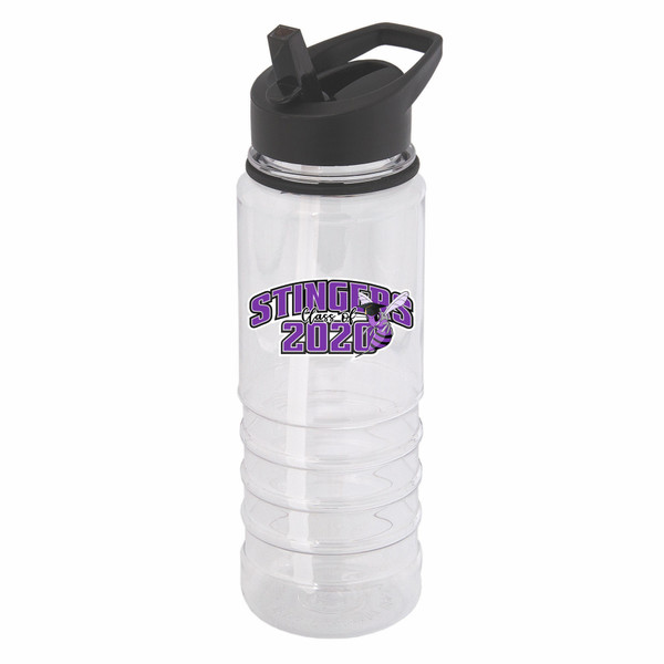 Graduation water bottle with straw