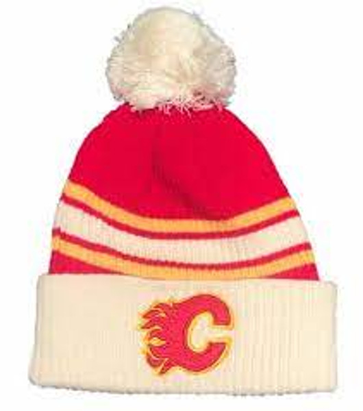 Fanatics Branded True Classic Pom Cuffed Knit Hat Calgary Flames