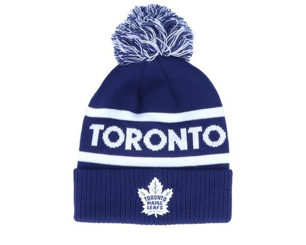 Toronto Maple Leafs ADIDAS Branded Cuffed Knit pom Beanie toque NHL hockey Hat