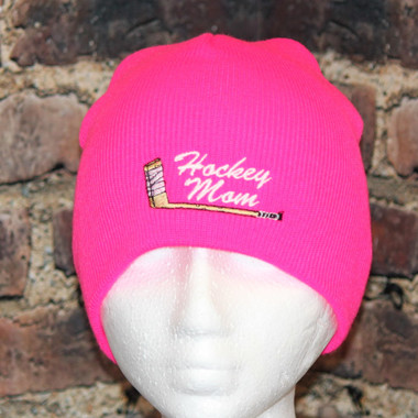 Hockey Mom with embroidered stick logo Hot pink beanie Toque