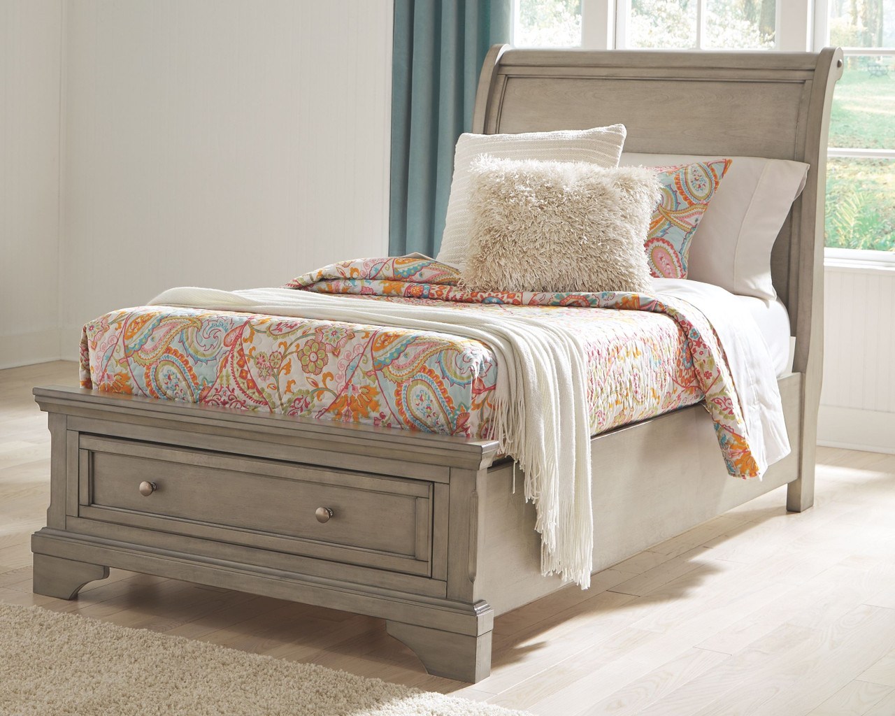 - Ashley Lettner Light Gray Twin Sleigh Bed On Sale At Red Shed