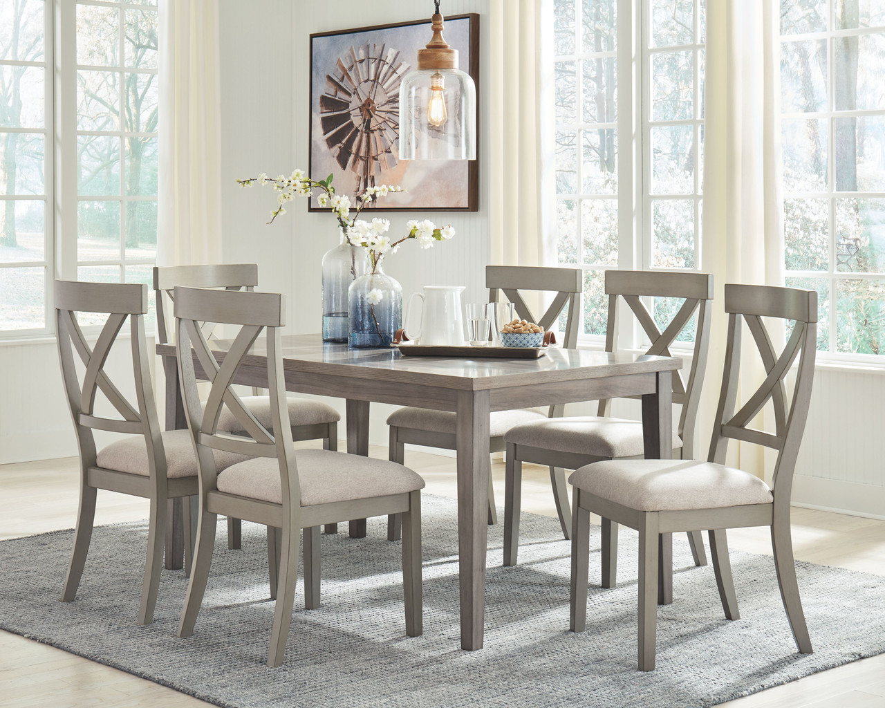 Ashley Parellen Gray 7 Pc Rectangular Table 6 Upholstered Side Chairs On Sale At Red Shed Furniture Serving Goldsboro Wilson Greenville Nc