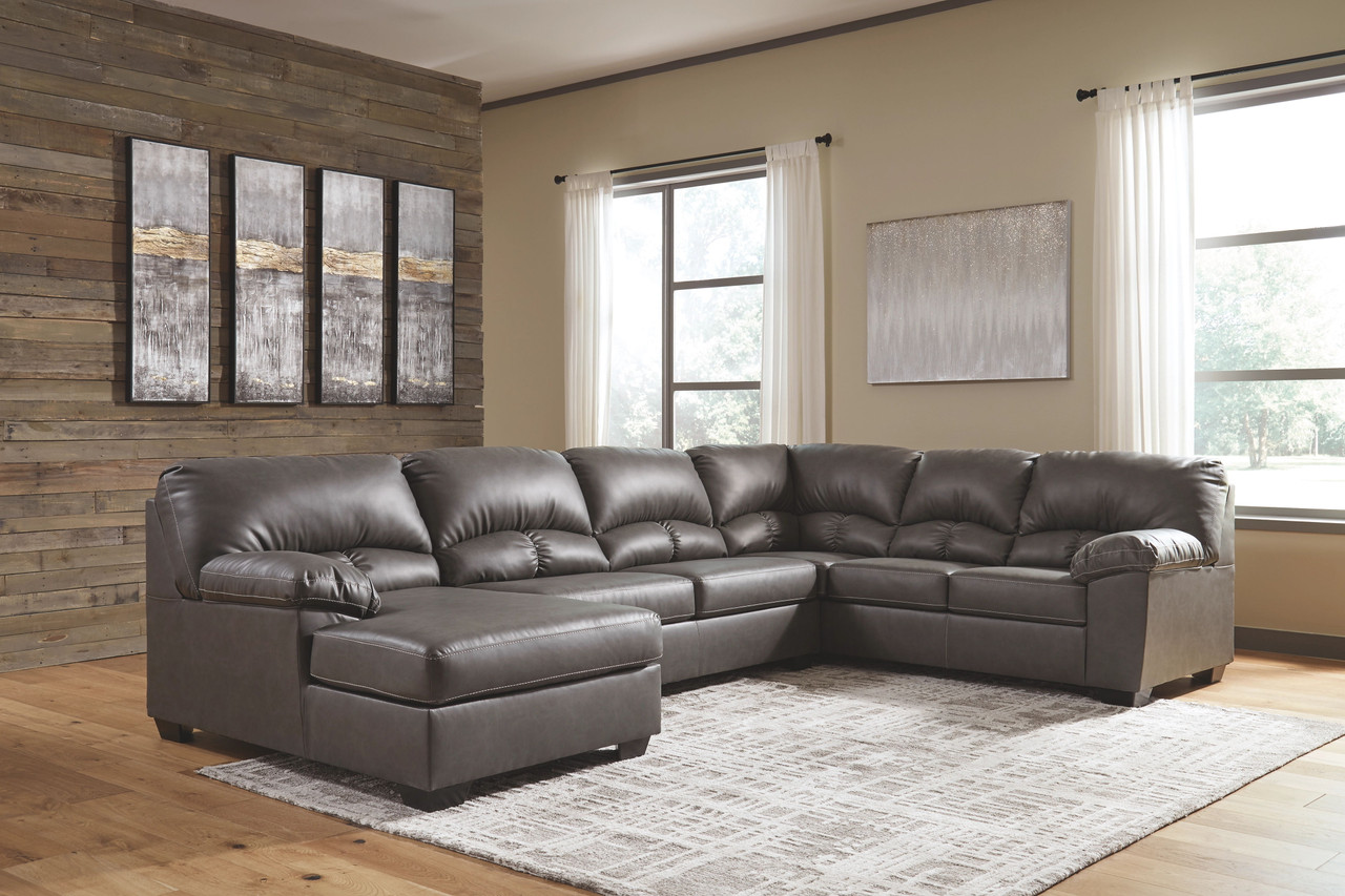 Ashley Aberton Gray 3 Piece Sectional With Chaise On Sale At Red Shed Furniture Serving Goldsboro Wilson Greenville Nc