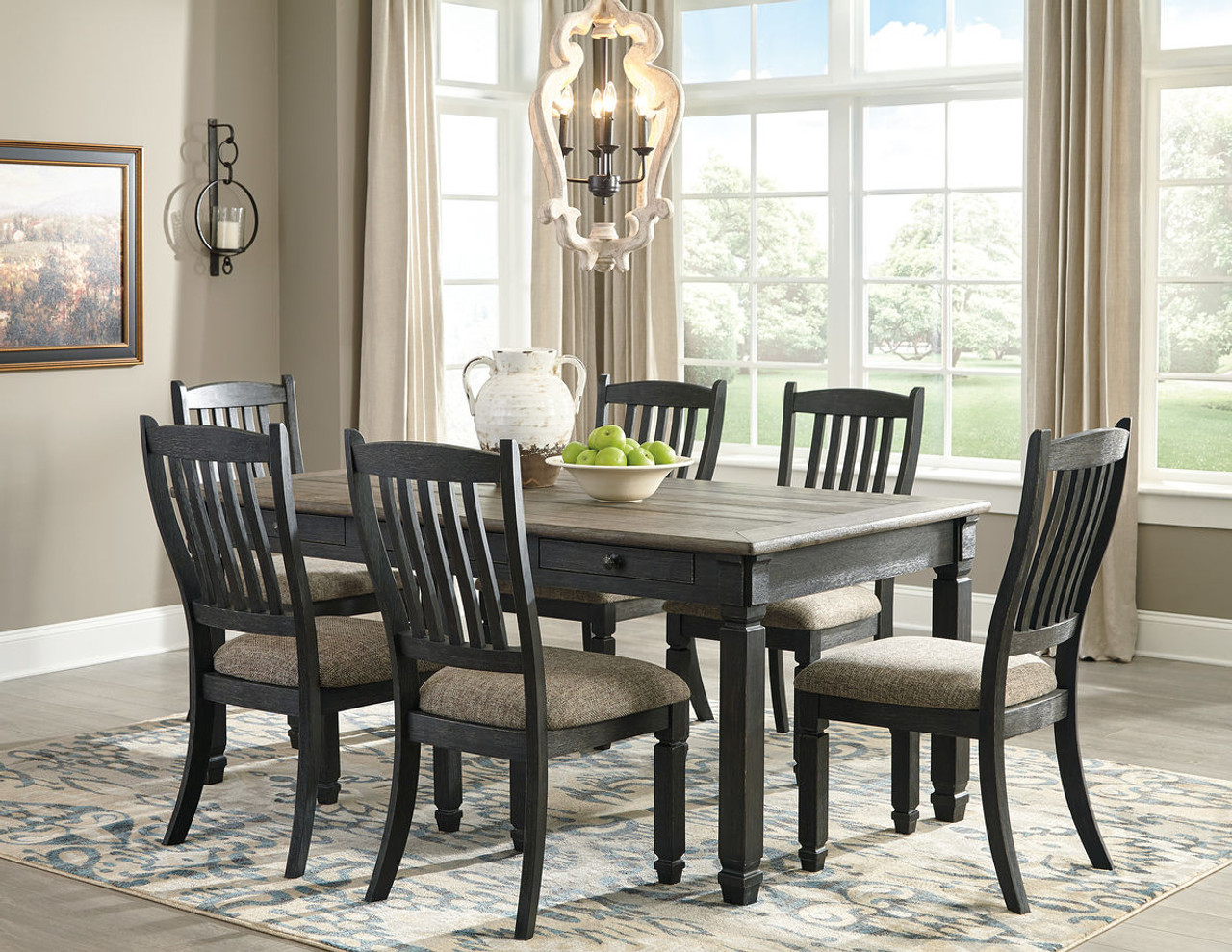 Picture of: Ashley Tyler Creek Black Gray 7 Pc Rectangular Dining Room Table 6 Uph Side Chairs On Sale At Red Shed Furniture Serving Goldsboro Wilson Greenville Nc