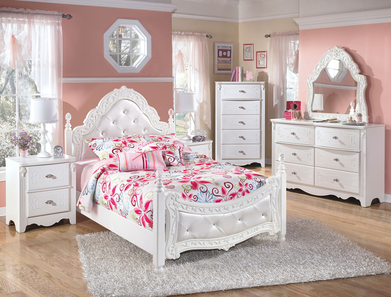 Ashley Exquisite White 4 Pc. Dresser, French Style Mirror & Full Padded  Poster Bed