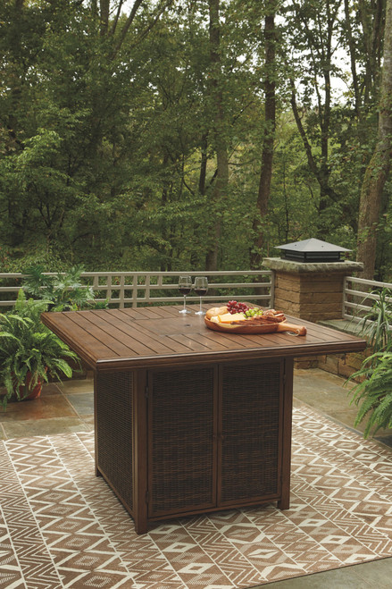 Ashley Paradise Trail Medium Brown Square Bar Table w/Fire Pit