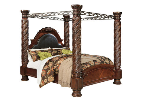 Ashley North Shore Dark Brown California King Poster Bed with Canopy