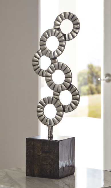 Ashley Brevyn Black/Silver Finish Sculpture