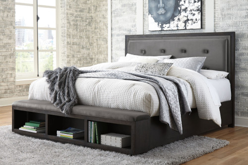 Ashley Hyndell Dark Brown California King Upholstered Panel Bed with Storage