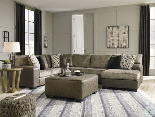Ashley Abalone Chocolate LAF Sofa/Couch, Armless Loveseat, RAF Corner Chaise Sectional, Accent Ottoman & Kinnshee End Table