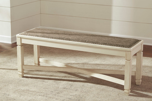 Ashley Bolanburg Two-tone Large Upholstered Dining Room Bench