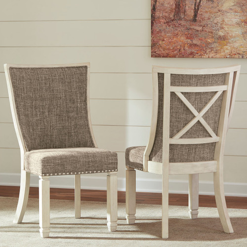 Ashley Bolanburg Two-tone Dining Upholstered Scoop Back Side Chair(Set of 2)