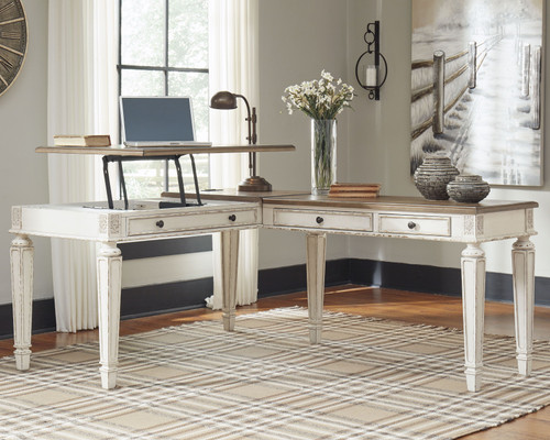 Ashley Realyn White/Brown L Shaped Desk with Lift Top