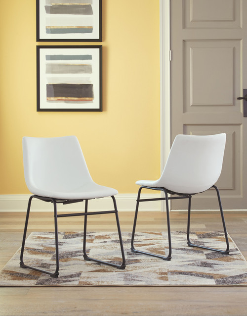 Ashley Centiar White Dining Upholstered Side Chair (Set of 2)