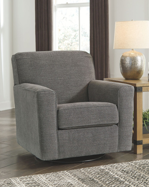Ashley Alcona Charcoal Swivel Glider Accent Chair
