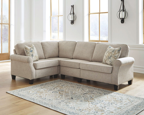 Ashley Alessio Beige 4 Pc. Sofa, Wedge, Armless Chair, Loveseat Sectional