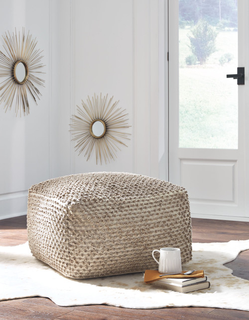 Ashley Hedy Natural/Ivory Pouf