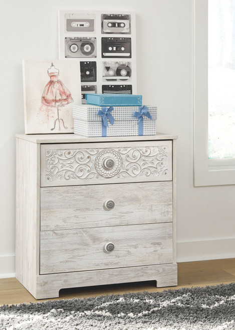 Ashley Paxberry White Aged Pine Three Drawer Chest