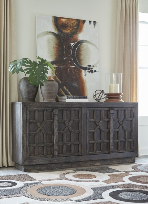 Ashley Roseworth Distressed Black Accent Cabinet
