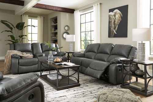 Ashley Calderwell Gray 3 Pc. Reclining Sofa, Double Reclining Loveseat with Console, Rocker Recliner