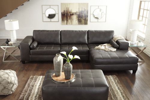 Ashley Nokomis Charcoal 5 Pc. LAF Sofa, RAF Corner Chaise Sectional, Accent Ottoman, 2 Coylin End Tables