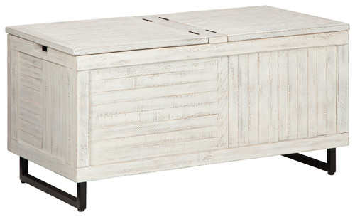Ashley Coltport Distressed White Storage Trunk