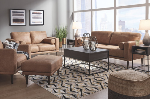 Ashley Arroyo Smoke 7 Pc. Sofa, Loveseat, Chair, Ottoman, Yarlow Lift Top Cocktail Table, 2 End Tables
