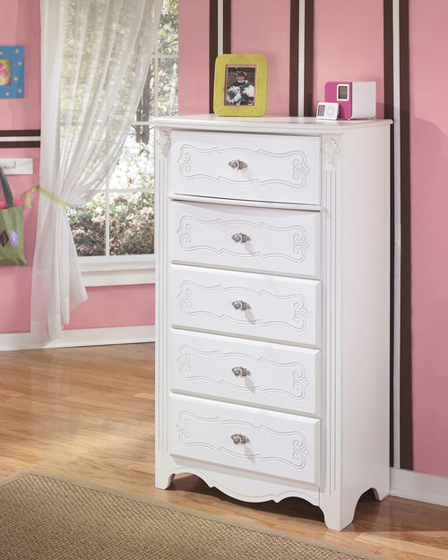 Ashley Exquisite White Five Drawer Chest