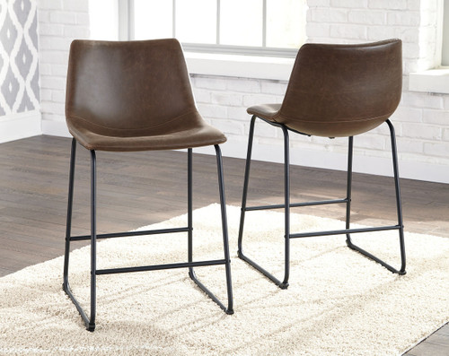 Ashley Centiar Brown/Black Upholstered Barstool(Set of 2)