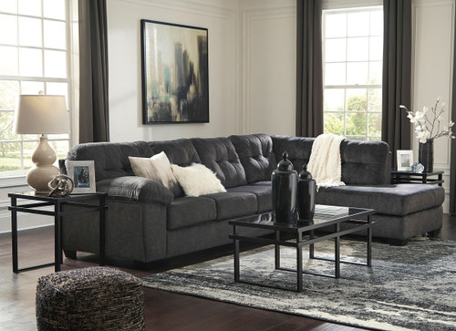 Ashley Accrington Granite Left Arm Facing Sofa, Right Arm Facing Corner Chaise Sectional & Laney Table Set