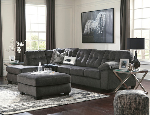 Ashley Accrington Granite Left Arm Facing Corner Chaise, Right Arm Facing Sofa Sectional, Accent Ottoman & 2 Coylin End Tables