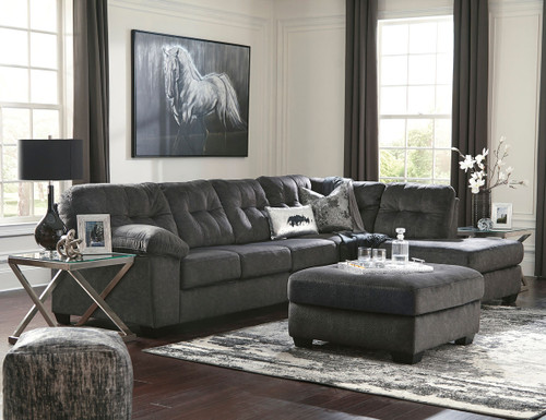 Ashley Accrington Granite Left Arm Facing Sofa, Right Arm Facing Corner Chaise Sectional, Accent Ottoman & 2 Coylin End Tables