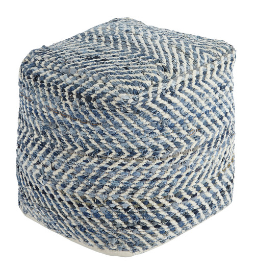 Ashley Chevron Blue Pouf