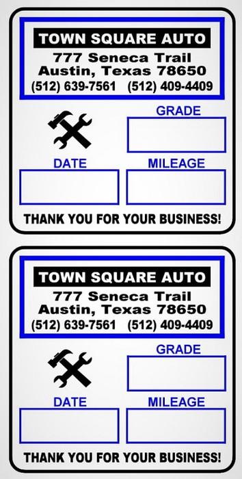 Premium Synthetic Custom Oil Change Reminder Stickers Design 1
