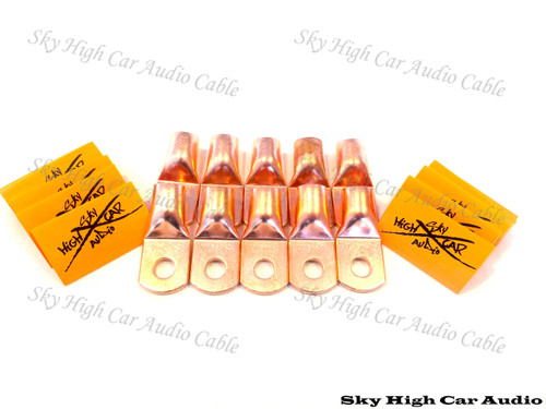 Sky High Car Audio 1/0 Gauge Copper Ring Terminals w/ Heat Shrink Tubing - 10 Pack