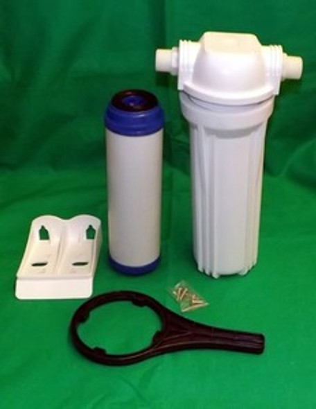"""O3 PURE Optional 10"""" Laundry water pre filter complete. Housing, Charcoal Filter, Bracket"""