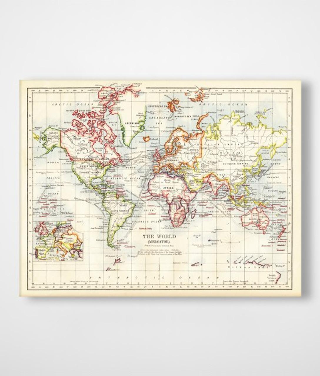 Old World Map Canvas.Canvas Print Old World Map Risenn