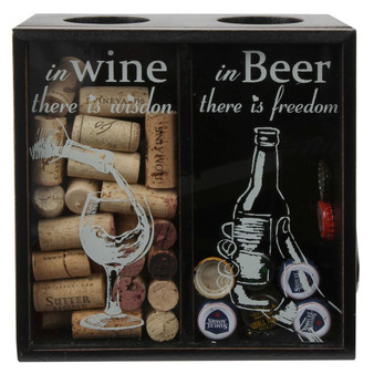 "Lily's Home Wine Cork and Beer Cap Holder, Wooden Wine Cork and Beer Caps Shadow Box with Beer Cap Opener, Black (8 3/4"" x 4 1/2"" x 8 3/4"")"