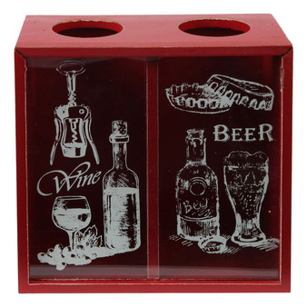 Lily's Home Wine Cork and Beer Cap Holder and Beer Cap Holder Shadow Box with Magnetic Bottle Opener and Corkscrew, Wood and Glass Box Makes the Ideal Gift for the Happy and Hydrated Drinker, Red
