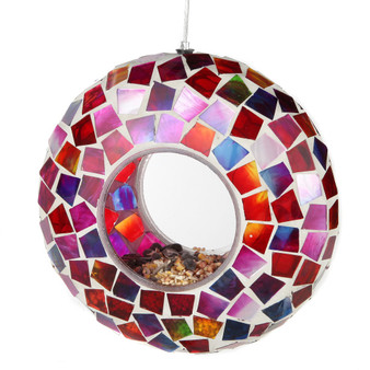 Lily's Home Hanging Outdoor Fly Through Wild Bird Feeder, an Excellent Addition to Any Garden, Mosaic. 6 Inches. Purple, Pink and Red