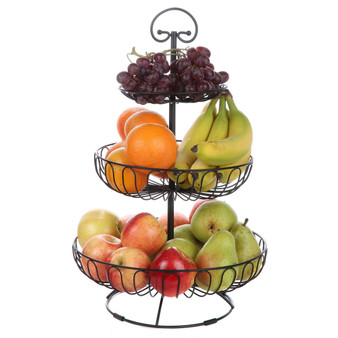 Lily's Home Wire Fruit and Vegetable Holder, 3-Tiered Fruit Basket, Kitchen Accessories - Black